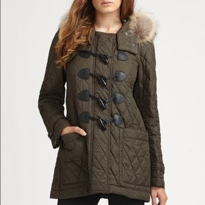 Burberry Brit Toggle Front Quilted Coat - Olive